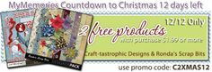 Every day during the WHOLE Month of December you will get a NEW PROMO CODE to grab TWO FUN FREE kits from the Design Shop. Just make a minimum purchase (Just $1.99) and you get TWO free goodies automaticlly added to your purchase! TODAY'S PROMO CODE: C2XMAS12