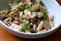 Sausage and Mushroom Penne. Sausage and mushroom penne in mustard cream sauce. Entree Recipes, Pasta Recipes, Healthy Recipes, Healthy Options, Mustard Cream Sauce, Easy To Cook Meals, Stuffed Mushrooms, Stuffed Peppers, Creamy Pasta