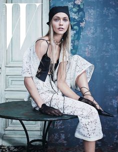 Sasha Pivovarova wears cropped pants, crystal embroidered dresses and lace Pose on W Korea Magazine December 2015 Photoshoot