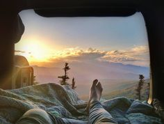 What a view! Looking out the backside of a Jeep while camping in the Rocky Mountains...