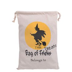Cotton Canvas Drawstring Halloween Trick or Treat Bag Room on the Broom s04 S#…