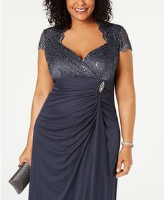 Magnified Betsy & Adam Plus Size Sequined-Lace Ruched Gown image Plus Size Cocktail Dresses, Plus Size Formal Dresses, Plus Size Gowns, Different Dresses, Plus Size Outfits, Dresses For Work, Mother Of The Bride Plus Size, Mother Of The Bride Dresses Long, Mother Of Bride Outfits