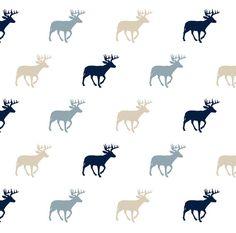 Rustic Woods Fabric  Multi Buck Blue // Rustic by Spoonflower