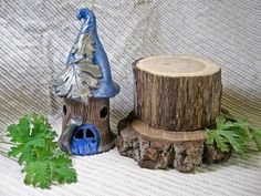 Faerie House Handmade Pottery Sculpture  / Night Light by IntheShadeoftheSycamoreTree, $70.00 USD https://www.zibbet.com/intheshadeofthesycamoretree/faerie-house-handmade-pottery-sculpture-fairy-garden-ideas-fairy-house-with-blue-roof-night-light