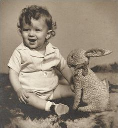 Precious VINTAGE CHILDREN PHOTO - A darling Little Child with His Stuffed Bunny Rabbit Toy - Sweet Smile and Curly Hair - precious Easter Shot