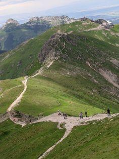 Tatra Mountains. Tatra Mountains view from Przelecz Liliowe Giewont & Kasprowy Wierch.