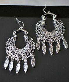 Tribal Earrings Silver Earrings Silver Tribal by LKArtChic on Etsy Indian Wedding Jewelry, Indian Jewelry, Bridal Jewelry, Beaded Jewelry, Tribal Earrings, Silver Earrings, Silver Jewelry, Silver Ring, Types Of Earrings
