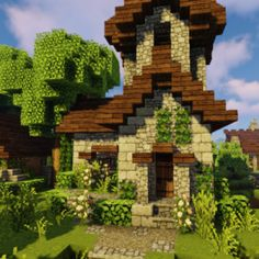 Small countryside house - Minecraft World Minecraft Farmen, Villa Minecraft, Construction Minecraft, Cute Minecraft Houses, Minecraft House Tutorials, Minecraft Houses Survival, Amazing Minecraft, Minecraft Houses Blueprints, Minecraft House Designs