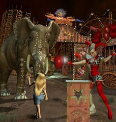 circus elephant and evil clown