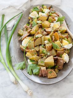 Roasted Potato Salad with Bacon Dressing - foodiecrush
