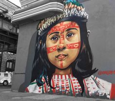 Beautiful portrait of a local girl by @vballentine99 for Bushwick street art on Willoughby Ave, Brooklyn.