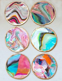 DIY Crafts Using Nail Polish - DIY Marbled Coasters - Fun, Cool, Easy and Cheap Craft Ideas for Girls, Teens, Tweens and Adults | Wire Flowers, Glue Gun Craft Projects and Jewelry Made From nailpolish - Water Marble Tutorials and How To With Step by Step Instructions diyprojectsfortee...