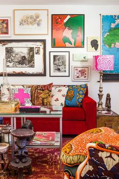 Living Room , Chic Bohemian Living Room : Bohemian Living Room With Red Sofa And Wall Arts Decor, Bright Living Room, Bohemian Living Rooms, Bohemian Living Room Decor, Red Couch Living Room, Interior, Couches Living Room, Living Room Decor Eclectic, Room Decor