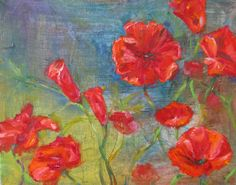 Original flower canvas poppy oil painting  by JaniceTraneJones, $139.00
