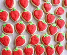 Mini Strawberry Cookies5 Dozen Bite Size by TheSugarSanctuary, $35.00