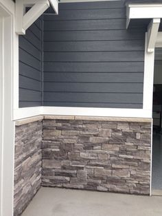 Like these colors for exterior for optimal curb appeal. Like these colors for exterior for optimal curb appeal. Image Size: 736 x 981 Source House Paint Exterior, Exterior House Colors, Wall Exterior, Exterior Paint Colors For House With Stone, Stone Veneer Exterior, Siding Colors For Houses, Stone On House Exterior, Stone Siding, Grey Siding House
