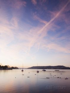 Sailing Boats on Lake Windermere in the Lake District, UK at Dawn Photographic Print by Ashley Cooper - AllPosters.co.uk
