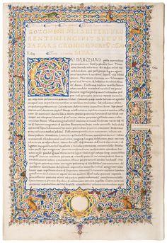 Sozomeno's magnificent world chronicle in a two-volume Renaissance manuscript, written by Filippo de Nanni de'Batini and a second, unknown scribe.