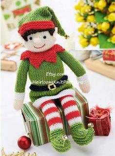 Knit Christmas Elf Pattern Christmas Toy Knitting Pattern Baby Holiday Seasonal Christmas Decoration