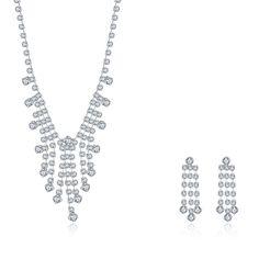 Moda Sparkling Rhinestone Crystal Encanto Joyería de La Boda Conjuntos Collar Pendientes de Boda Joyería Plateada de Plata Set