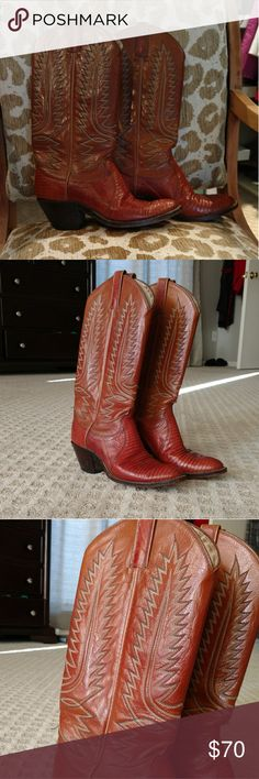 """Vintage Dan Post Lizard Skin Cowboy Boots Dan Post Lizard Skin Cowboy boots from the early 1980s.  Darker """"butterscotch"""" color with gray and cream stitching.  Nice condition except for scuffing on bottom and sides of soles.  Two inch heel.  These have been packed away in my closet since 1987. Dan Post Shoes"""