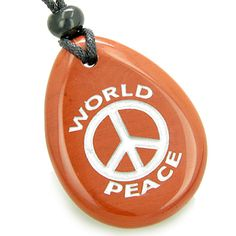 Lucky World Peace Amulet Red Jasper Wish Stone Pendant Necklace