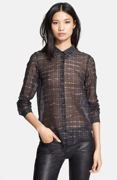 The Kooples Print Cotton Blend Shirt available at #Nordstrom