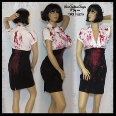 Sexy Secretary Costume THE SECRETARY DRESS Bloody Halloween Dress Horror Adult Sz 12 Halloween Costume Hand Painted by SweetDarknessDesigns by SweetDarknessDesigns on Etsy