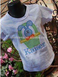 Custom Cheap Kids Fashion T-shirt Rabbit Embroidered Kid Outfit Easter Holiday Wear Boutique Clothing