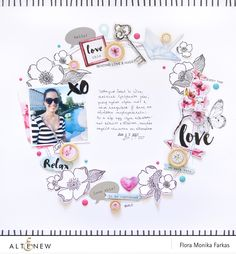 Scrapbook layout created with @altenew Reflection collection and Adore You Stamp Set by @floramfarkas #altenew #scrapbook