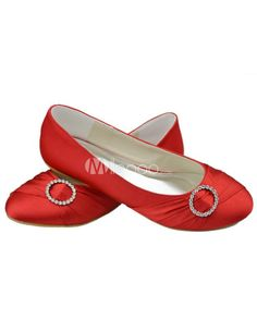 Cute Red Satin Rhinestone Flat Shoes For Bride. See More Bridal Shoes at http://www.ourgreatshop....