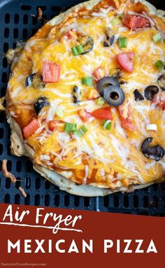 This Air Fryer Mexican Pizza Recipe will cure your cravings. Layered tortillas, beans, taco meat, cheese and sauce make this Taco Bell Copycat just like the real thing, or better. New Air Fryer Recipes, Air Frier Recipes, Air Fryer Dinner Recipes, Easy Dinner Recipes, Appetizer Recipes, Easy Meals, Appetizers, Healthy Dinners, Pizza Recipes