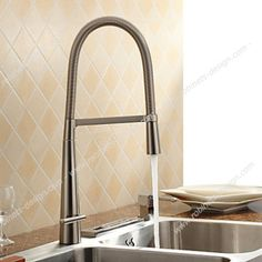 Kitchen Sink Faucets Spring Rotatable Pull Out Down Spout Single Handle Waterfall Nickel Brushed Brass Mixer