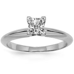 Elegant and simple in appearance, this lovely womens solitaire engagement ring is handcrafted in 18k white gold. The center is prong set with one princess cut diamond which weighs 0.54 carats. The center measures to 5 mm in width and the band weighs 3 grams. $1,601.00