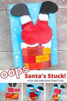 Santa's Stuck in the Chimney: A Funny Christmas Craft for Kids: Our Santa's Stuck! will have children of all ages giggling with Santa's wiggles and jiggles to get down the chimney! Children can explore movement and depth with Santa's 3D bouncy bottom, and play with different textures to create effects with print or splatter snow and fuzzy cotton wool trim. Christmas Crafts for Kids Santa | Christmas Santa Crafts for Kids | Easy Santa Crafts for Kids | Christmas Kids Crafts | Santa Kids… Preschool Christmas Crafts, Christmas Art Projects, Santa Crafts, Christmas Crafts For Toddlers, Easy Crafts For Kids, Kids Christmas, Toddler Crafts, Xmas, Christmas Crafts