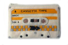 Cassette Tape Pouch - Special Edition Wool Felt Hand Applique Zipper Wallet. $50.00, via Etsy.