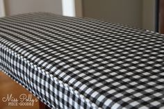 Who doesn't love classic Ginham.and in black and white? It seems like this fabric would pair with nearly every decorating style, adding just a touch of bygone. Window Seat Cushions, Patio Cushions, Floor Cushions, Kitchen Benches, Kitchen Redo, Kitchen Ideas, Box Cushion, Cushion Covers, Caravan Makeover