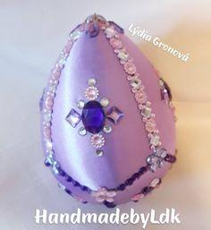 Veľkonočné vajíčko, Faberge, robené technikou kimekomi zdobené kryštálmi s perličkami, autorský originál z mojej dielničky HandmadebyLdk