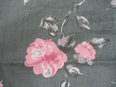 100% Linen Fabric By the Yard Gray with Pink Flowers Print | Crafts, Fabric | eBay!