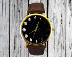 Moon Phases Watch | Space Watch | Astronomy Watch | Ladies Watch | Unisex Watch | Gift Idea | Fashion Accessory | Classic | Christmas Gift