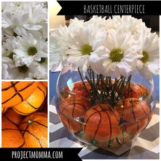 March Madness basketball centerpiece. Easy, fresh, cheap and has that WOW factor. #projectmomma