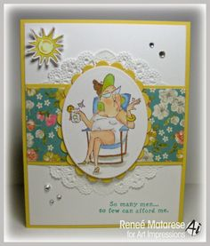 SC0653 Ai Beach Babes. Art Impressions Girlfriends set by Hampton Art at Michael's craft stores. Handmade card.