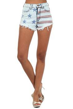 Acid Blue Printed High Waist Cutoff Shorts Button zipper Closure At Front (FREE SHIPPING)