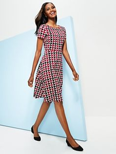 Talbots - Modern Houndstooth Fit-and-Flare Dress | | Misses Discover your new look at Talbots. Shop our Modern Houndstooth Fit-and-Flare Dress for stylish clothing and accessories with a modern twist at Talbots