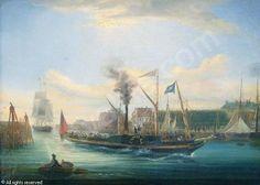 """""""Le ferry mixte à aube """"Camillia"""", by Louis Gamain (1803-1871)"""