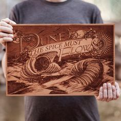 Laser Engraved Wooden Poster by SpaceWolf - DUNE