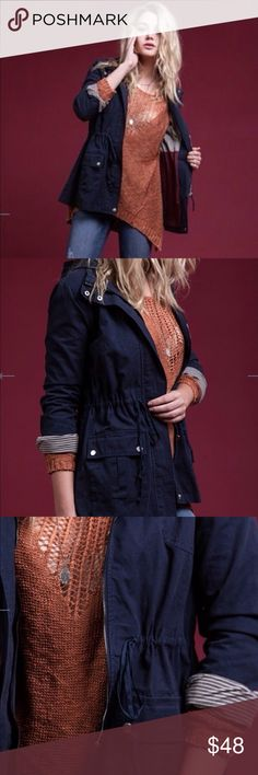 """Cotton Utility Jacket Navy blue utility jacket crafted in 100% cotton twill canvas features a drawstring waist and deep button pockets. Hooded and fully lined. Super cute and great for fall. Small (size 2-4) Bust 33.5""""- 34.5"""" Medium (size 6-8) Bust 35.5""""- 36.5"""" Large (size 10-12) Bust 38""""- 39.5"""" Blu Pepper Jackets & Coats Utility Jackets"""
