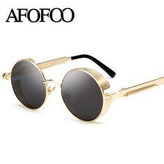 AFOFOO Gothic Steampunk Homens Revestimento Dos Homens Óculos De Sol Do  Metal Do Vintage Espelho Óculos De Sol Das Mulheres Rodada óculos de Sol  Retros ... 5ed6d0491b