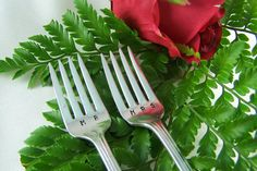 MR & MRS GRILL FORKS ***READY to SHIP*** ***Vintage Wedding, 1930s*** *Vintage: Silver Plated *Hand Stamped: MR / MRS **Just ask us if you want a period added on each fork** *Pattern & Company: Memory/Hiawatha by Wm. Rogers *Introduced in: 1937 *Length: 7 1/2 *Type Forks: Grill - Shorter tines like a dessert fork but longer handles *Condition: very good vintage *Ships: Quickly, USA 1st class or priority **choose at check out** *Will arrive in a gift box *COST: $19.90  *...
