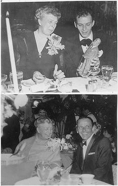 Eleanor Roosevelt & Frank Sinatra ~ Top photo is 1947, Bottom photo is 1960.